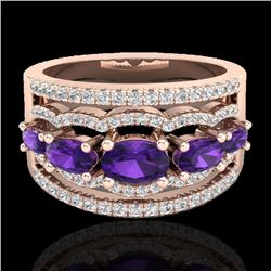 2.25 CTW Amethyst & Micro Pave VS/SI Diamond Certified Designer Ring 10K Rose Gold - REF-66M9F - 207