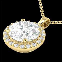 1.75 CTW Halo VS/SI Diamond Certified Micro Pave Necklace 18K Yellow Gold - REF-477A3V - 21569