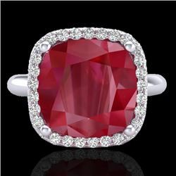 6 CTW Ruby & Micro Pave Halo VS/SI Diamond Certified Ring 18K White Gold - REF-77W3H - 23102