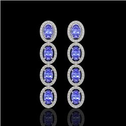 6.09 CTW Tanzanite & Diamond Earrings White Gold 10K White Gold - REF-122F2N - 40904