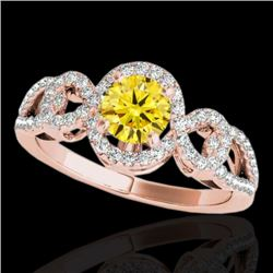 1.38 CTW Certified SI/I Fancy Intense Yellow Diamond Solitaire Halo Ring 10K Rose Gold - REF-174N5A