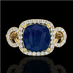 3.15 CTW Sapphire & Micro VS/SI Diamond Certified Ring 18K Yellow Gold - REF-76K9W - 23011