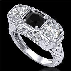 2.51 CTW Fancy Black Diamond Solitaire Art Deco 3 Stone Ring 18K White Gold - REF-309V3Y - 37716
