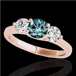 3 CTW SI Certified Fancy Blue Diamond 3 Stone Solitaire Ring 10K Rose Gold - REF-454A5V - 35400