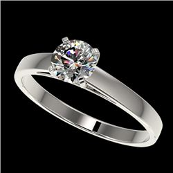 0.77 CTW Certified H-SI/I Quality Diamond Solitaire Engagement Ring 10K White Gold - REF-97N5A - 364