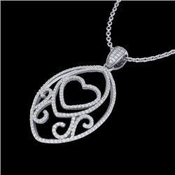 1.75 CTW Micro Pave VS/SI Diamond Designer Heart Necklace 18K White Gold - REF-186N4A - 22588
