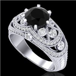 2 CTW Fancy Black Diamond Solitaire Engagement Art Deco Ring 18K White Gold - REF-172W7H - 37975