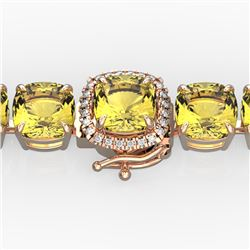 35 CTW Citrine & Micro VS/SI Diamond Halo Designer Bracelet 14K Rose Gold - REF-134N2A - 23303