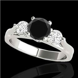 1.75 CTW Certified VS Black Diamond 3 Stone Ring 10K White Gold - REF-96W5H - 35379