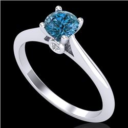 0.56 CTW Fancy Intense Blue Diamond Solitaire Art Deco Ring 18K White Gold - REF-81M8F - 38188