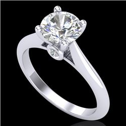 1.36 CTW VS/SI Diamond Solitaire Art Deco Ring 18K White Gold - REF-405H2M - 37289