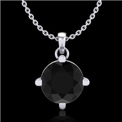 1 CTW Fancy Black Diamond Solitaire Art Deco Stud Necklace 18K White Gold - REF-48M2F - 38073