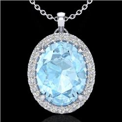 2.75 CTW Aquamarine & Micro VS/SI Diamond Halo Solitaire Necklace 18K White Gold - REF-58Y4X - 20579