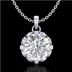 1.50 CTW VS/SI Diamond Solitaire Art Deco Stud Necklace 18K White Gold - REF-363F5N - 36845