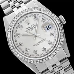 Rolex Men's Stainless Steel, QuickSet, Diamond Dial & Diamond Bezel - REF-557Y3X