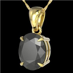 5 CTW Black VS/SI Diamond Certified Designer Solitaire Necklace 18K Yellow Gold - REF-161N8A - 21856