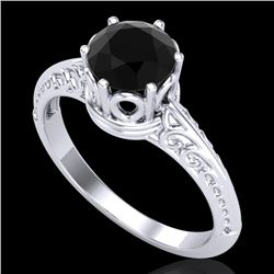 1 CTW Fancy Black Diamond Solitaire Engagement Art Deco Ring 18K White Gold - REF-52H7M - 38115