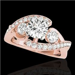 1.76 CTW H-SI/I Certified Diamond Bypass Solitaire Ring 10K Rose Gold - REF-289H3M - 35037