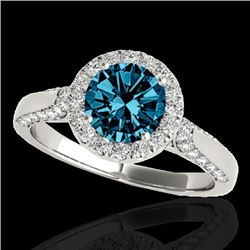 2.15 CTW SI Certified Fancy Blue Diamond Solitaire Halo Ring 10K White Gold - REF-285H5M - 33576