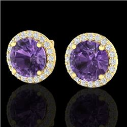 4 CTW Amethyst & Halo VS/SI Diamond Micro Pave Earrings Solitaire 18K Yellow Gold - REF-65N8A - 2147
