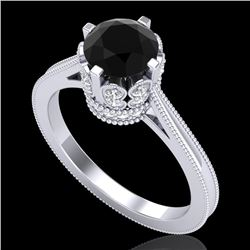 1.50 CTW Fancy Black Diamond Solitaire Engagement Art Deco Ring 18K White Gold - REF-109R3K - 37345
