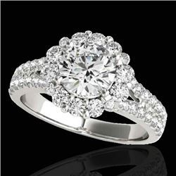 2.51 CTW H-SI/I Certified Diamond Solitaire Halo Ring 10K White Gold - REF-384R2K - 33940
