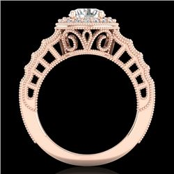 1.53 CTW VS/SI Diamond Solitaire Art Deco Ring 18K Rose Gold - REF-454X5R - 36960