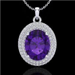 4 CTW Amethyst & Micro Pave VS/SI Diamond Certified Necklace 18K White Gold - REF-91N8A - 20551