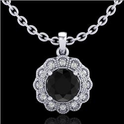 1.15 CTW Fancy Black Diamond Solitaire Art Deco Stud Necklace 18K White Gold - REF-89N3A - 37842