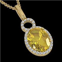 3 CTW Citrine & Micro Pave Solitaire Halo VS/SI Diamond Necklace 14K Yellow Gold - REF-45M3F - 22758