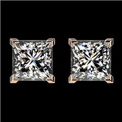 2 CTW Certified VS/SI Quality Princess Diamond Stud Earrings 10K Rose Gold - REF-585R2K - 33095