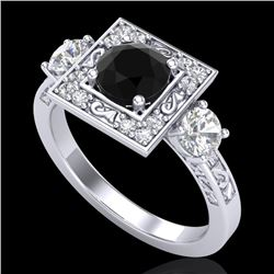 1.55 CTW Fancy Black Diamond Solitaire Art Deco 3 Stone Ring 18K White Gold - REF-149M3F - 38171