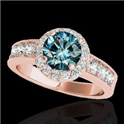 2.1 CTW SI Certified Fancy Blue Diamond Solitaire Halo Ring 10K Rose Gold - REF-227R3K - 34546