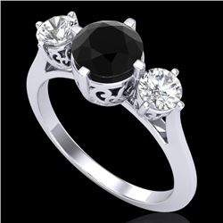 1.51 CTW Fancy Black Diamond Solitaire Art Deco 3 Stone Ring 18K White Gold - REF-134Y5X - 38080