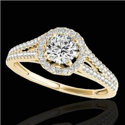 1.30 CTW H-SI/I Certified Diamond Solitaire Halo Ring 10K Yellow Gold - REF-167M3F - 33884