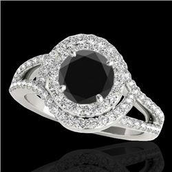 2.15 CTW Certified VS Black Diamond Solitaire Halo Ring 10K White Gold - REF-174A2V - 34399