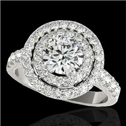 3 CTW H-SI/I Certified Diamond Solitaire Halo Ring 10K White Gold - REF-428W9H - 34220
