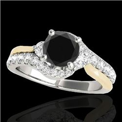 1.60 CTW Certified VS Black Diamond Bypass Solitaire Ring 10K White & Yellow Gold - REF-77F6N - 3511