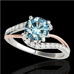 1.35 CTW SI Certified Fancy Blue Diamond Bypass Solitaire Ring 10K White & Rose Gold - REF-167X3R -