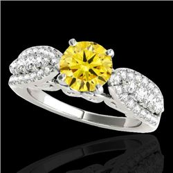 2 CTW Certified SI/I Fancy Intense Yellow Diamond Solitaire Ring 10K White Gold - REF-305F5N - 35275