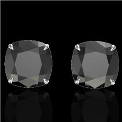 12 CTW Cushion Cut Black VS/SI Diamond Designer Stud Earrings 18K White Gold - REF-208A2V - 21775