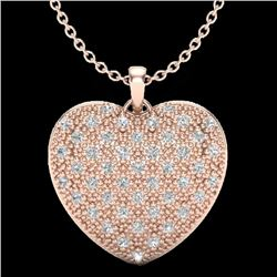 1.0 Designer CTW Micro Pave VS/SI Diamond Heart Necklace 14K Rose Gold - REF-87K3W - 20489