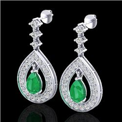 2.25 CTW Emerald & Micro Pave VS/SI Diamond Earrings Designer 14K White Gold - REF-105X5R - 23151