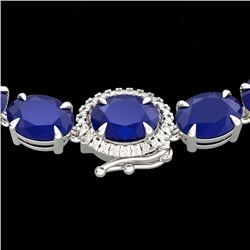 92 CTW Sapphire & VS/SI Diamond Tennis Micro Pave Halo Necklace 14K White Gold - REF-270A2V - 23460
