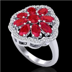 4 CTW Ruby & VS/SI Diamond Certified Cluster Designer Halo Ring 10K White Gold - REF-63A8V - 20784