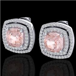 3.95 CTW Morganite & Micro Pave VS/SI Diamond Halo Earrings 18K White Gold - REF-129W6H - 20168