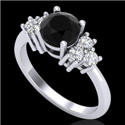 1.50 CTW Fancy Black Diamond Solitaire Engagement Classic Ring 18K White Gold - REF-120V2Y - 37597