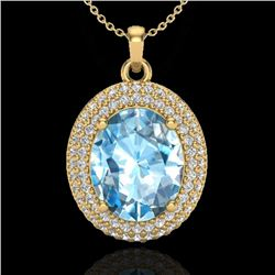 5 CTW Sky Blue Topaz & Micro Pave VS/SI Diamond Necklace 18K Yellow Gold - REF-92K5W - 20558