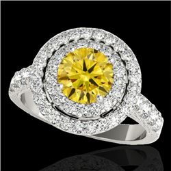 3 CTW Certified SI/I Fancy Intense Yellow Diamond Solitaire Halo Ring 10K White Gold - REF-388K2W -