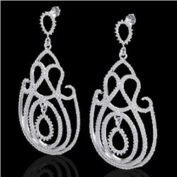 3.50 CTW Micro Pave Designer VS/SI Diamond Certified Earrings 14K White Gold - REF-291M3F - 22446